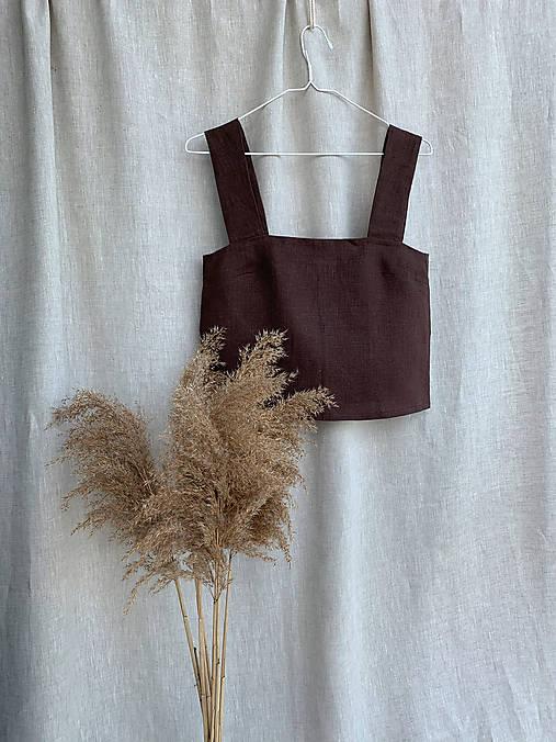Topy - Skrátený ľanový top | Linen crop top - 12205738_