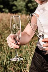 Nádoby - Svadobné poháre - sklenené Mr. a Mrs. - 12205496_