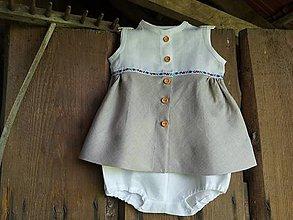 Detské oblečenie - Ľanové šaty s nohavičkami - 12206976_