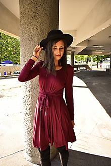 Šaty - Úpletové šaty BREA, i jako těhotenské, bordo - 12206947_