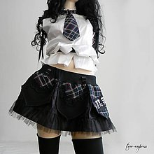 Sukne - Rocková mini sukňa s kravatou - 12207738_