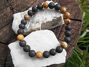 Šperky - jaspis a láva-náramok - 12208435_