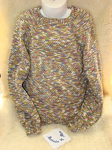 Detské oblečenie - Ručne pletený detský pulóver melírovaný - 12206676_