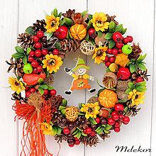 Dekorácie - Jesenný veniec so strašiakom - 12207417_
