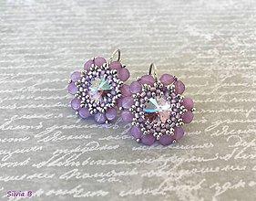 Náušnice - Nežné opálovofialové kvetinky - 12207351_