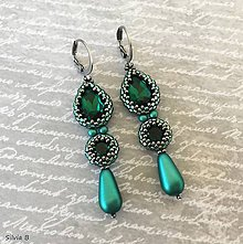 Náušnice - Dlhé smaragdové náušnice s kvapkou - 12207360_