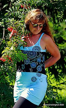 Tričká - Dámske tielko šité, maľované, etno MODRÁ LAGÚNA - 12208977_