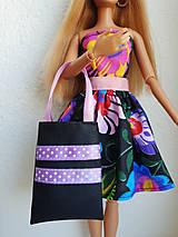 Hračky - Čierna kabelka s fialovou stuhou - 12211411_