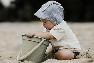 Detské čiapky - Bavlnený čepček soft denim - 12211238_