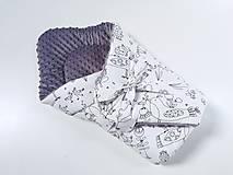 Textil - Zavinovačka sivá minky + vtáčiky na bielom - 12213384_