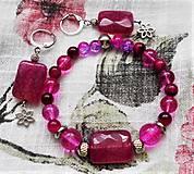 Sady šperkov - Fuchsiový achát - 12212281_