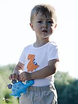Detské oblečenie - body DINO - ORANŽOVÝ - TYRANOSAURUS (dlhý/krátky rukáv) - 12212092_
