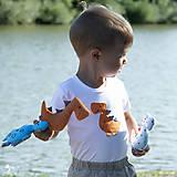 Detské oblečenie - body DINO - ORANŽOVÝ - TYRANOSAURUS (dlhý/krátky rukáv) - 12212098_
