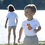 Detské oblečenie - body DINO - ORANŽOVÝ - TYRANOSAURUS (dlhý/krátky rukáv) - 12212099_