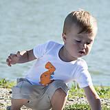 Detské oblečenie - body DINO - ORANŽOVÝ - TYRANOSAURUS (dlhý/krátky rukáv) - 12212100_