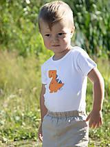 Detské oblečenie - body DINO - ORANŽOVÝ - TYRANOSAURUS (dlhý/krátky rukáv) - 12212101_