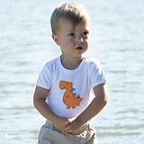 Detské oblečenie - body DINO - ORANŽOVÝ - TYRANOSAURUS (dlhý/krátky rukáv) - 12212102_