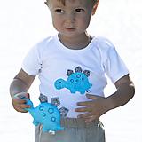 Detské oblečenie - body DINO - TYRKYSOVÝ -  STEGOSAURUS (dlhý/krátky rukáv) - 12213708_