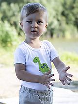 Detské oblečenie - body DINO - ZELENÝ - BRACHIOSAURUS (dlhý/krátky rukáv) - 12213800_
