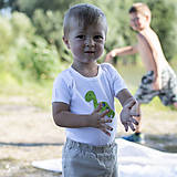 Detské oblečenie - body DINO - ZELENÝ - BRACHIOSAURUS (dlhý/krátky rukáv) - 12213804_