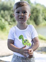 Detské oblečenie - body DINO - ZELENÝ - BRACHIOSAURUS (dlhý/krátky rukáv) - 12213806_