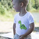 Detské oblečenie - body DINO - ZELENÝ - BRACHIOSAURUS (dlhý/krátky rukáv) - 12213811_