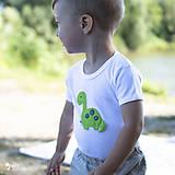 Detské oblečenie - body DINO - ZELENÝ - BRACHIOSAURUS (dlhý/krátky rukáv) - 12213812_