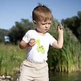Detské oblečenie - body DINO - ZELENÝ - BRACHIOSAURUS (dlhý/krátky rukáv) - 12213814_