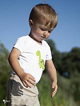 Detské oblečenie - body DINO - ZELENÝ - BRACHIOSAURUS (dlhý/krátky rukáv) - 12213821_
