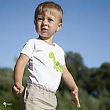 Detské oblečenie - body DINO - ZELENÝ - BRACHIOSAURUS (dlhý/krátky rukáv) - 12213822_
