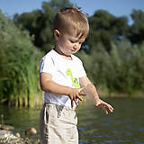Detské oblečenie - body DINO - ZELENÝ - BRACHIOSAURUS (dlhý/krátky rukáv) - 12213823_