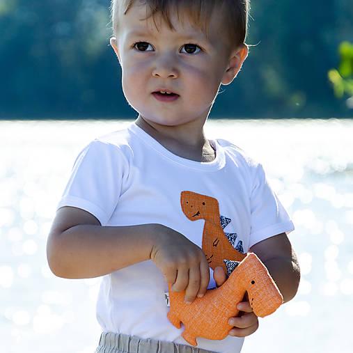 body DINO - ORANŽOVÝ - TYRANOSAURUS (dlhý/krátky rukáv)