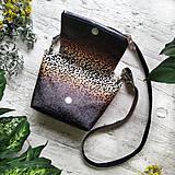 Kabelky - Kabelka SWEET BAG - leopardí vzor so srdiečkami (hnedý prechod) - 12213162_