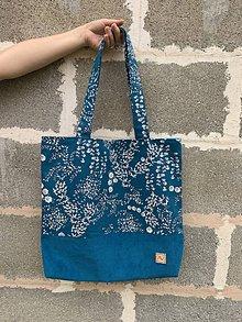 Veľké tašky - Veľká taška - kvietky  (Tyrkysová) - 12214037_