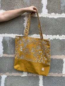 Veľké tašky - Veľká taška - kvietky  (Horčicová) - 12214043_