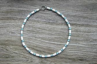 Šperky - Pánsky náhrdelník okolo krku (bielo modrý, č. 3284) - 12212308_