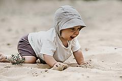 Detské čiapky - Baby čepiec 100% ľan-coffee - 12212181_
