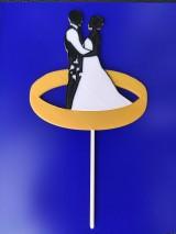 Dekorácie - Svadobný zápich - pár v obrúčke - 12213660_