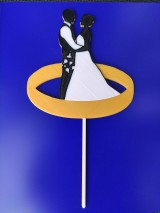 Dekorácie - Svadobný zápich - pár v obrúčke - 12213677_