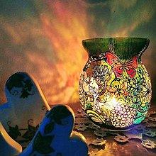 Svietidlá a sviečky - Ručne maľovaný svietnik - 12212025_