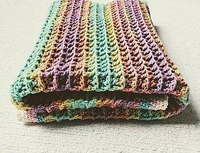 Textil - Dúhová háčkovaná deka do kočíka - 12217736_