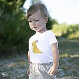 Detské oblečenie - body DINO - HORČICOVÝ - PARASAUROLOPHUS (dlhý/krátky rukáv) - 12215888_