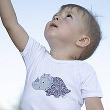 Detské oblečenie - body DINO - SIVÝ - TRICERATOPS (dlhý/krátky rukáv) - 12216056_
