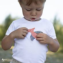 Detské oblečenie - body DINO - RUŽOVÝ - PTERODAKTYL (dlhý/krátky rukáv) - 12216801_
