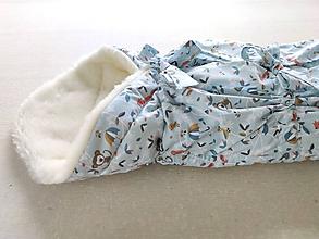 Textil - Vlnienka Klasická zavinovačka pre novorodenca zimná 100% MERINO TOP Zvieratká opičky a líštičky Mint blue - 12217131_