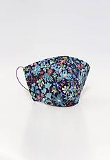 """Rúška - Kvetinové tmavomodré rúško z ľanu a bavlny """"Aquarelle"""" - 12215373_"""
