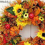 Dekorácie - Veľký jesenný veniec 44 cm - 12216385_