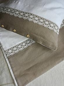 Úžitkový textil - Ľanové posteľné obliečky s dvojfarebnou ľanovou krajkou - 12215402_