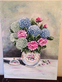 Obrazy - Zatišie hortenzia a pivonky - 12216984_