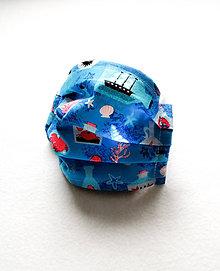 Rúška - Tenké bavlnené rúško detské, more - 12215226_